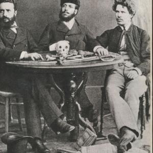 Христо Ботев с Никола Славков и Иван Драсов, снимани през септември 1875 г.  в Букурещ